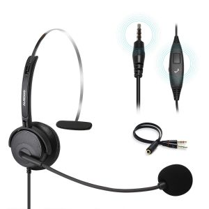 Ausdom BH01 Phone Headset with Noise Cancelling Mic Office Business Headset