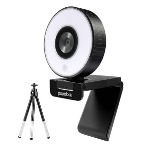 PAPALOOK by AUSDOM PA552 Live Streaming Webcam, 1080P Gaming StreamCam with Studio-Like Ring Light, Dual Microphones and Tripod for Twitch, Xbox One, OBS